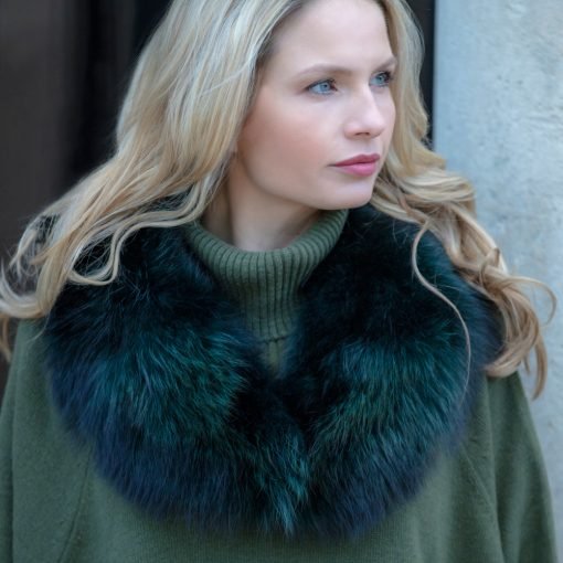 Claudie Green Medium Raccoon Fur Collar