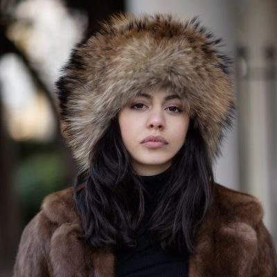Geniune Brown Raccoon Fur Hat