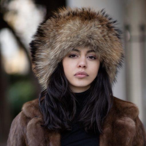 Geniune Brown Raccoon Fur Hat