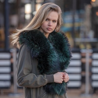 Louise Large Cobalt Blue / Green Raccoon Fur Collar