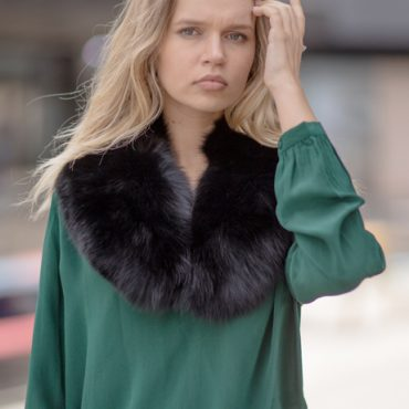Bottle Green Molly Silk Crepe Blouse with Sophie Fur Collar