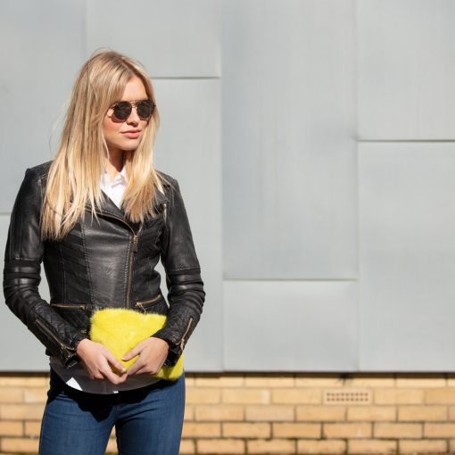Limited Edition Yellow Saga Mink Fur Clutch