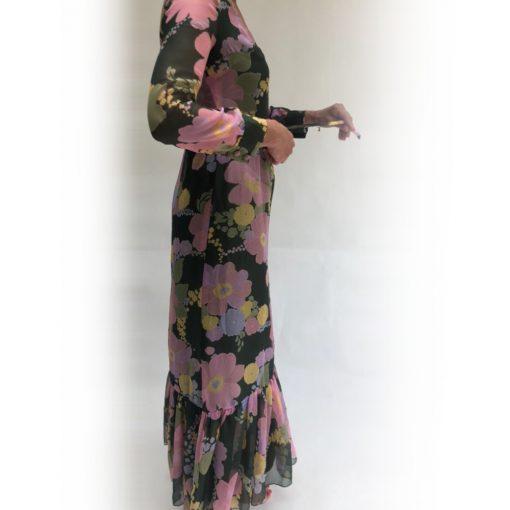 Rachel Vintage Ruffle Floral Maxi Dress
