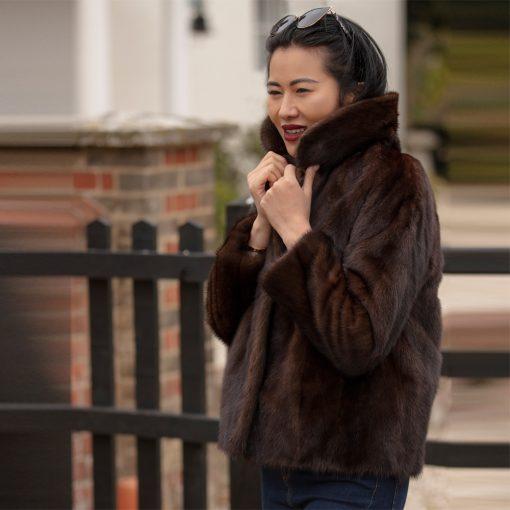 Sofia Dark Brown Vintage Mink Fur Jacket