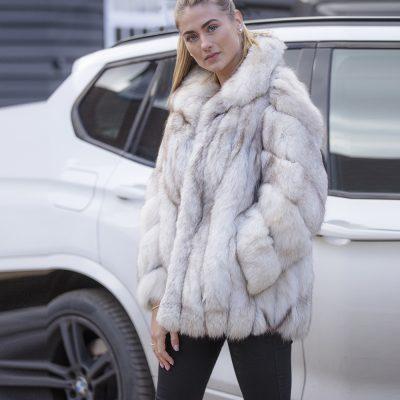 Zara White Artic Fox Vintage Fur Jacket