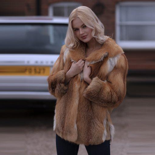 Ava Vintage Red Fox Fur Jacket