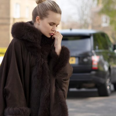 Kelly Cashmere and Fox Fur Cape