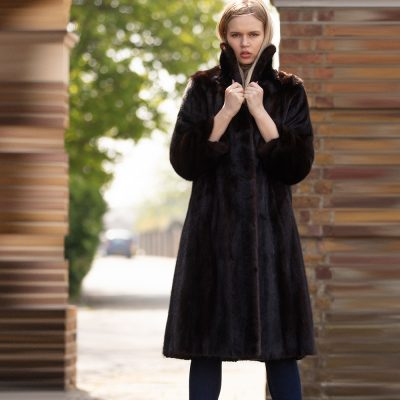 Lara Vintage Saga Mink Dark Brown Fur Coat