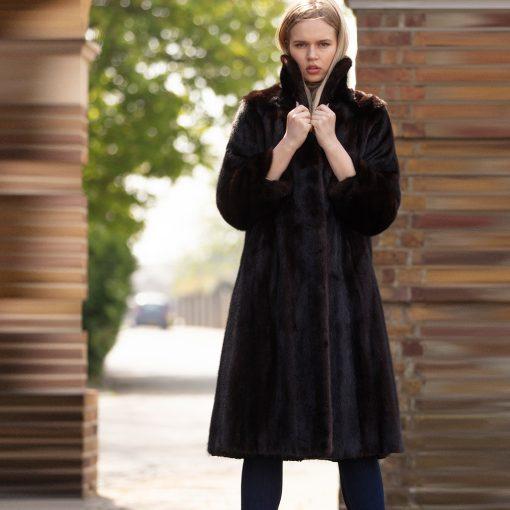 Lara Vintage Saga Mink Dark Brown Fur Coat