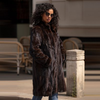 Oak Vintage Mink Fur Coat with Drawstring Waist