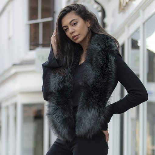 Grace Green Large Silver Fox Fur Collar