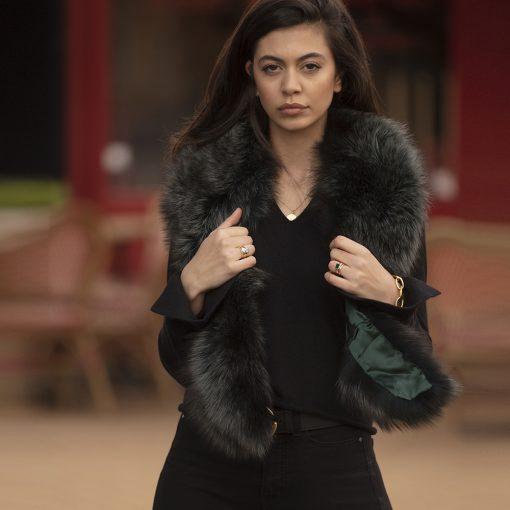 Grace Green Large Silver Fox Fur Collar
