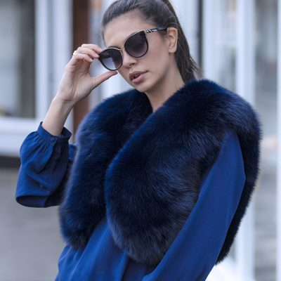 Martha Blue Fox Fur Bolero