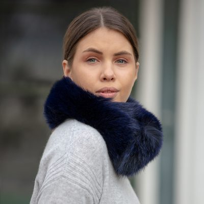 Jessica Small Navy Fox Fur Collar / Headband