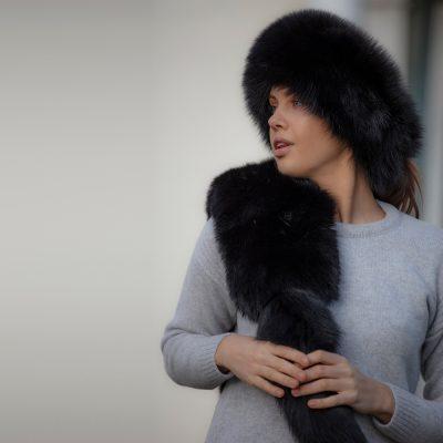 Tilly Night Black Fox and Tail Fur Collar