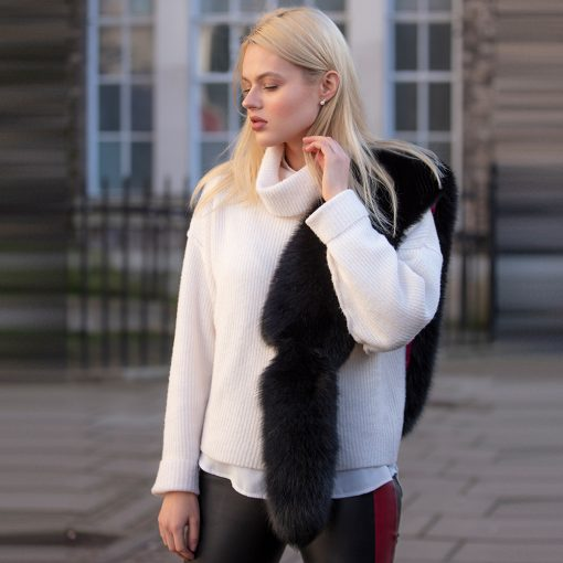Tilly Night Black Fox and Tail Fur Collar