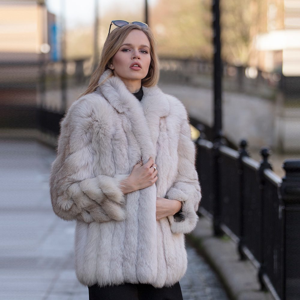 Zara 3 Saga Blue Fox Vintage Fur Jacket