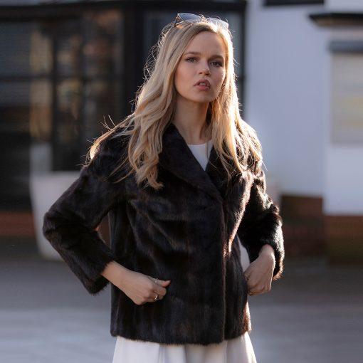 Ellie Vintage Dark Mink Jacket