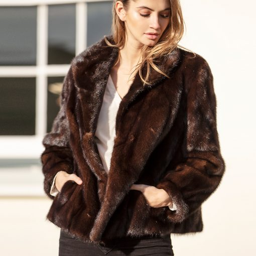 Gita Vintage Dark Brown Mink Fur Jacket