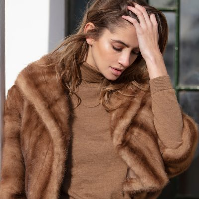 Mabel Vintage Honey Mink Short Fur Jacket