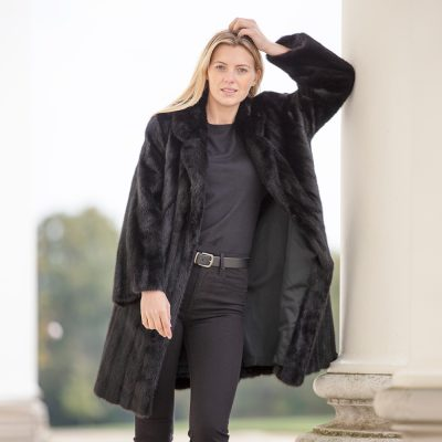 Oak 2 Vintage Black Mink Fur Coat with Drawstring Waist