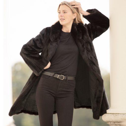 Oak 2 Vintage Black Mink Fur Coat with Drawstring Waist