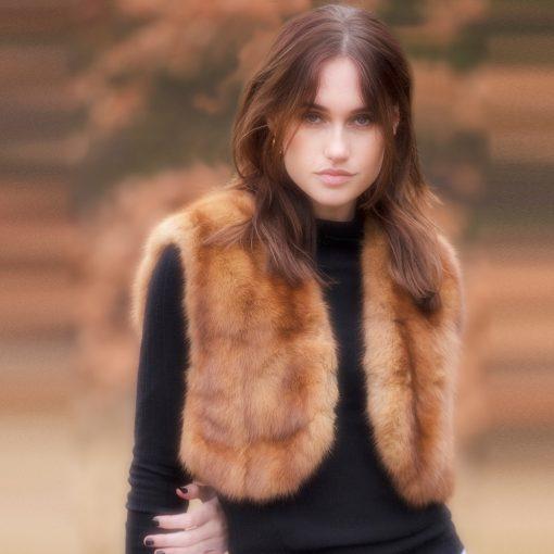Sadie Vintage Toffee Sable Fur Bolero