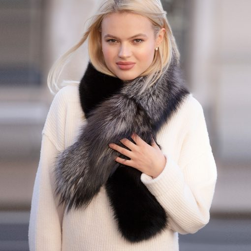 Suzy Black and Silver Grey Fox Fur Collar