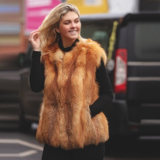 Tabi Vintage Red Fox Fur Gilet