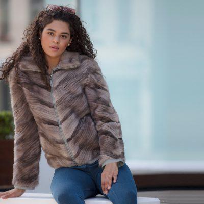 Missy Modern Grey Vintage Fur Bomber Jacket