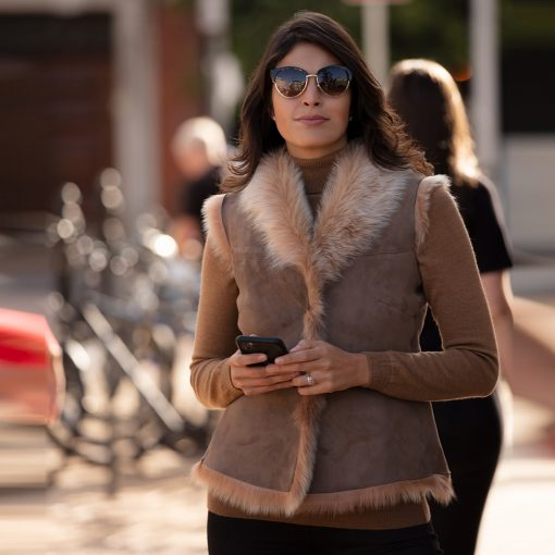 Tiffany Classic Caramel Cream Sheepskin Gilet