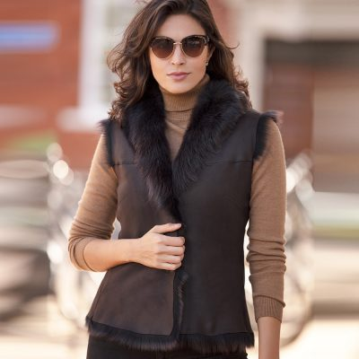 Tiffany Classic Chocolate Reversible Sheepskin Gilet