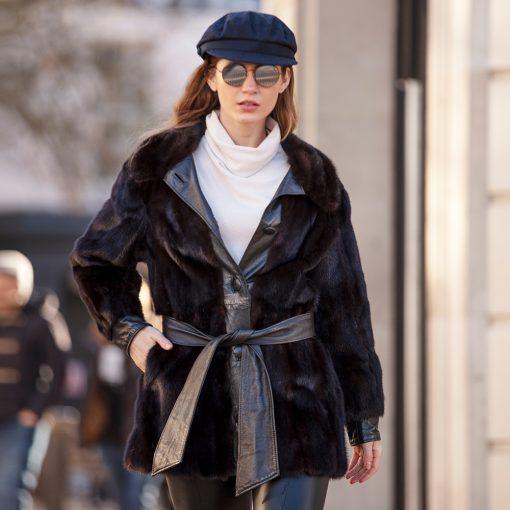 Joanna Leather Trim Vintage Dark Brown Mink Fur Jacket