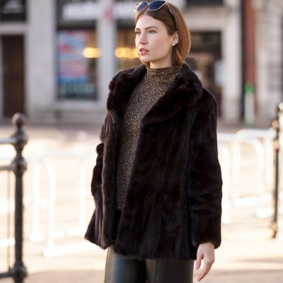 Louise Little Black Vintage Mink Fur Jacket