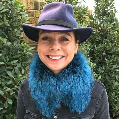Tilly Blueberry Silver Fox Fur Collar