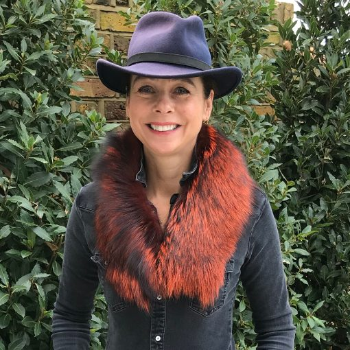 Tilly Orange Silver Fox Fur Collar Without Tail