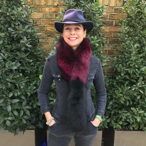 Tilly Purple Silver Fox With Black Tail Fur Collar