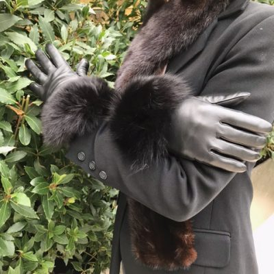 Touch Screen Black Fox Fur Trimmed Gloves