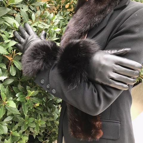 Touch Screen Black Fox Fur Trimmed Gloves