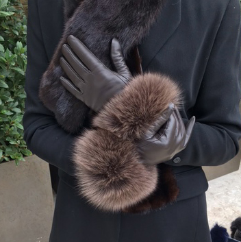 Touch Screen Brown Fox Fur Trimmed Gloves