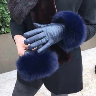 Touch Screen Navy Fox Fur Trimmed Gloves