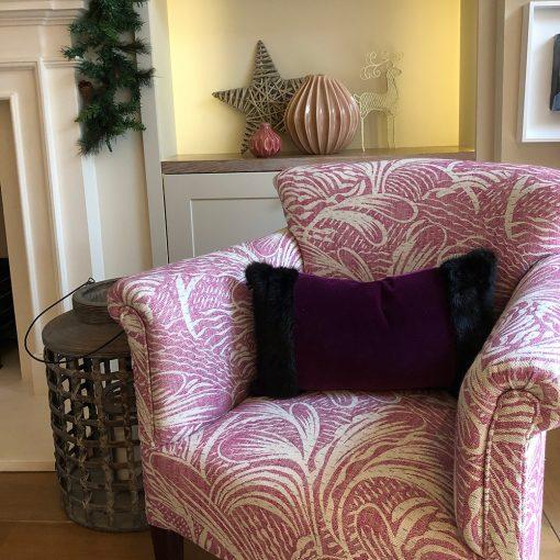 Vintage Mink Fur Trimmed Velvet Cushion