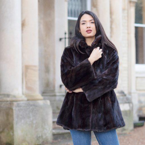 Rachel Dark Brown Vintage Mink Fur Jacket