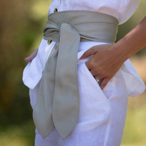 Cici Soft Leather Putty Belt