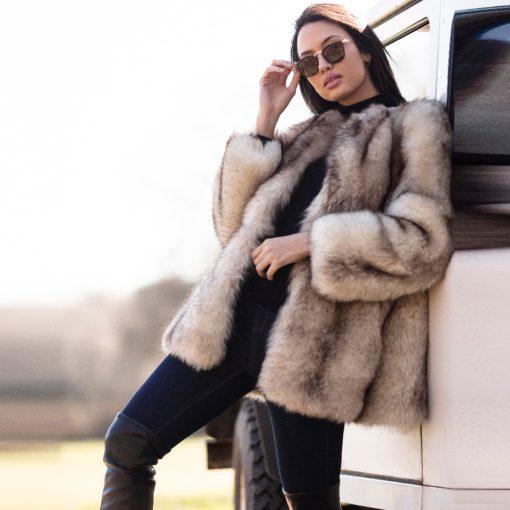 Mable Vintage Blue Fox Fur Jacket