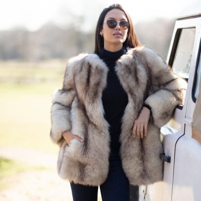 Mable Vintage Blue Fox Fur Jacket