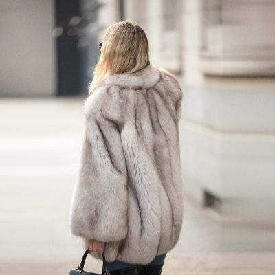Vintage Blue Fox Fur Harriet Jacket