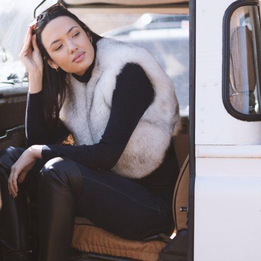 Martha White Blue Fox Fur Bolero