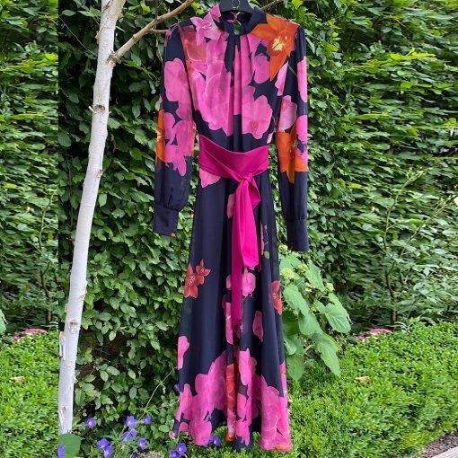 Lily Vintage Floral Silk Maxi Dress