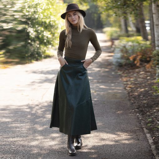 Forest Green A Line Leather Skirt